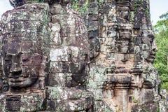 Twarze antyczna Bayon świątynia Przy Angkor Wat, Siem Przeprowadzają żniwa, Kambodża obrazy royalty free