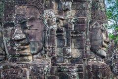 Twarze antyczna Bayon świątynia Przy Angkor Wat, Siem Przeprowadzają żniwa, Kambodża obraz royalty free