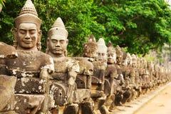 Twarze przy wejściem Bayon świątynia zdjęcie royalty free