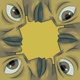 twarze tworzyli cztery rama cztery obrazuje Fotografia Royalty Free