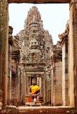 Twarze w Bayon świątyni przy zmierzchem, Angkor Wat obraz stock