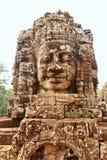 Twarze w Bayon świątyni przy zmierzchem, Angkor Wat fotografia royalty free