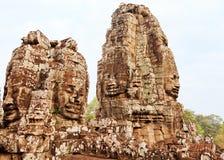 Twarze w Bayon świątyni przy zmierzchem, Angkor Wat obrazy stock
