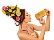 Twarzowa miód maska dla kobiet warg Honeycombs domowej roboty organicznie threatment obrazy stock