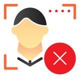 Twarzowa rozpoznania ostrzeżenia mieszkania ikona E Biometryczna autoryzacja ilustracji