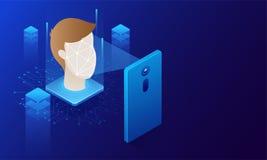 Twarzowy biometryczny obraz cyfrowy, biometryczna tożsamość i zatwierdzenie, Przyszłość o Obraz Stock