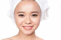 Twarzowy piękna zbliżenie piękna azjatykcia dziewczyna Zdjęcie Royalty Free