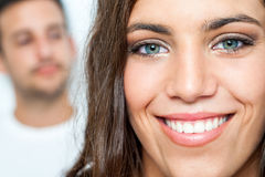 Twarzowy portret nastoletni z toothy uśmiechem Zdjęcia Royalty Free