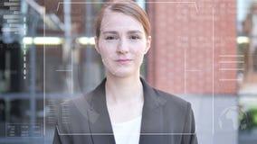 Twarzowy rozpoznanie bizneswoman, sprawdzian bezpieczeństwa zbiory wideo