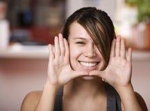 twarzy azjatykcia otoczka jej ładna kobieta Fotografia Stock