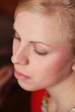 twarzy dziewczyna robi gotowemu s up Zdjęcie Royalty Free