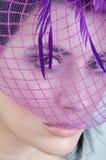 Twarzy dziewczyna w różowej przesłonie Fotografia Royalty Free