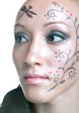 twarzy kobiety kwieciste deseniowe Zdjęcie Stock