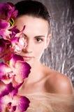 twarzy kwiatu kobiety potomstwa Fotografia Royalty Free