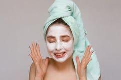twarzy maski kobieta Twarzy skóry opieka Skóry traktowanie Zdjęcia Stock