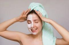 twarzy maski kobieta Twarzy skóry opieka Skóry traktowanie Zdjęcie Royalty Free
