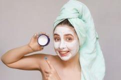 twarzy maski kobieta Twarzy skóry opieka Skóry traktowanie Fotografia Stock