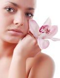 twarzy orchidei kobieta Fotografia Royalty Free