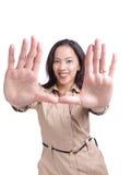 twarzy otokowych ręk latynoscy kobiety potomstwa zdjęcie stock
