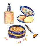 Twarzy podstawa naturalna kolor skóry tubka, proszka pudełko otwarty z lustra, muśnięcia i układ twarzy proszkiem z dębnym skutki ilustracji