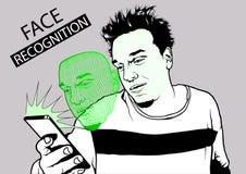 Twarzy rozpoznanie z Smarth telefonem royalty ilustracja