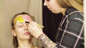 Twarzy sztuka Makijażu artysty początek malować zbiory wideo