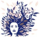 twarzy włosy liść zrobili kobiety Zdjęcie Stock