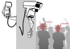 Twarzy wykrycie z kamera systemem ilustracja wektor