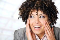 twarzy z podnieceniem kobieta Fotografia Royalty Free