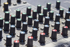 Tweaking sound board Royalty Free Stock Photos