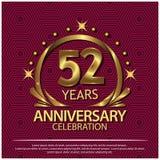 Tweeënvijftig jaar verjaardags gouden het ontwerp van het verjaardagsmalplaatje voor Web, spel, Creatieve affiche, boekje, pamfle royalty-vrije illustratie