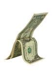 Twee één-dollars rekeningen   Royalty-vrije Stock Foto's
