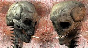 Twee 3D schedels met sigaret Stock Foto