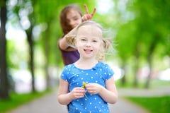 Twee aanbiddelijke kleine zusters die en elkaar koesteren lachen Stock Fotografie