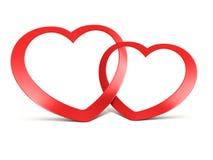 Twee aangesloten bij rode harten op wit vector illustratie