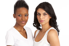 Twee Aantrekkelijke Jonge Vrouwen in Studio royalty-vrije stock foto's