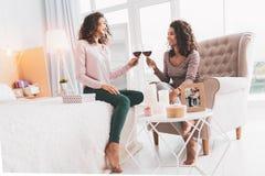 Twee aantrekkelijke vrouwen die hun glazen met wijn klinken stock fotografie