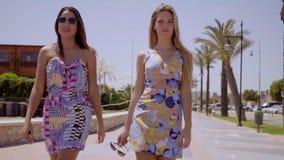 Twee aantrekkelijke vrouwen die langs een promenade lopen stock video