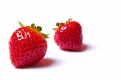 Twee aardbeien Royalty-vrije Stock Afbeeldingen