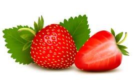 Twee aardbeien met bladeren. Royalty-vrije Stock Afbeeldingen