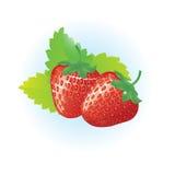 Twee aardbeien op een wit Stock Afbeelding
