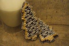Twee aardige smakelijke boom-vormige koekjes met het glas van heet vers m royalty-vrije stock afbeeldingen