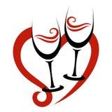 Twee Abstracte Glazen van Rode Wijn & Hart Stock Fotografie