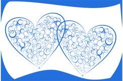 Twee abstracte harten. Stock Afbeelding