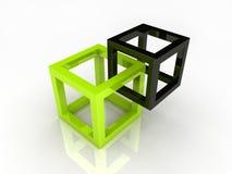Twee abstracte kubussen Royalty-vrije Stock Afbeelding