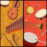Twee achtergronden met nota's en muzikale instrumenten vector illustratie
