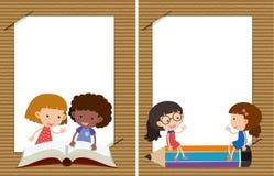 Twee achtergrondmalplaatjes met meisjes het lezen Stock Foto