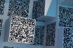 Twee-afmeting code blauwe wetenschap en technologie wal royalty-vrije stock afbeeldingen
