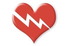Twee afmeting gebroken rood hart Stock Fotografie
