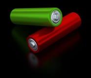 Twee alkalische batterijen op zwarte achtergrond Stock Foto